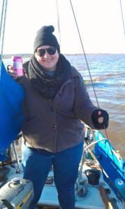 You can't tell that I am steering Saga with my foot. So far, Kevin P. Sullivan would rate my sailing as adequate, I think.