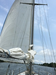 Jib sail. Can't get a full photo from on the boat.